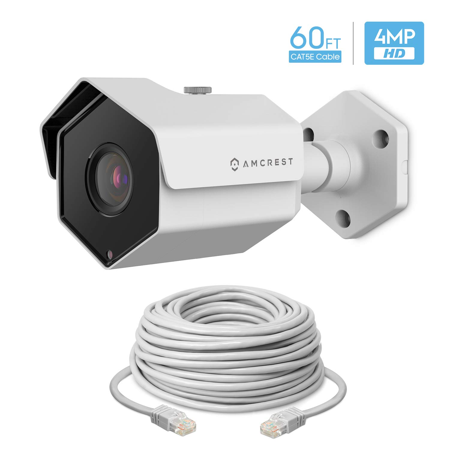 Amcrest UltraHD 4MP Outdoor POE Camera 2688 x 1520p Bullet IP Security Camera, Outdoor IP67 Waterproof, 118 Viewing Angle, 60 feet Cat5 Ethernet Cable, 4-Megapixel, IP4M-1026EW-CAT5ECABLE60 White