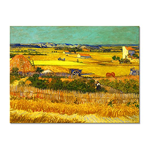 Wieco Art Harvest at La Crau with Mont majour Landscape Giclee Canvas Prints Wall Art by Van Gogh Famous Oil Paintings Reproduction Large Modern Yellow Classic Farm Pictures Artwork for Home Decor L