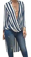 YUNY Womens Summer Striped Design Long Sleeve Casual Dress