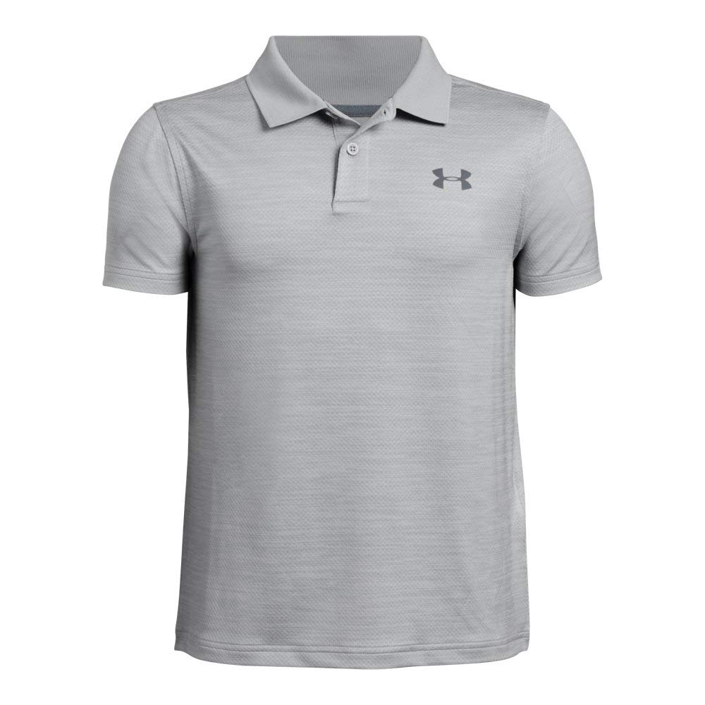 Under Armour boys Performance 2.0 Golf Polo, Mod Gray Light Heather (011)/Pitch Gray, Youth X-Small