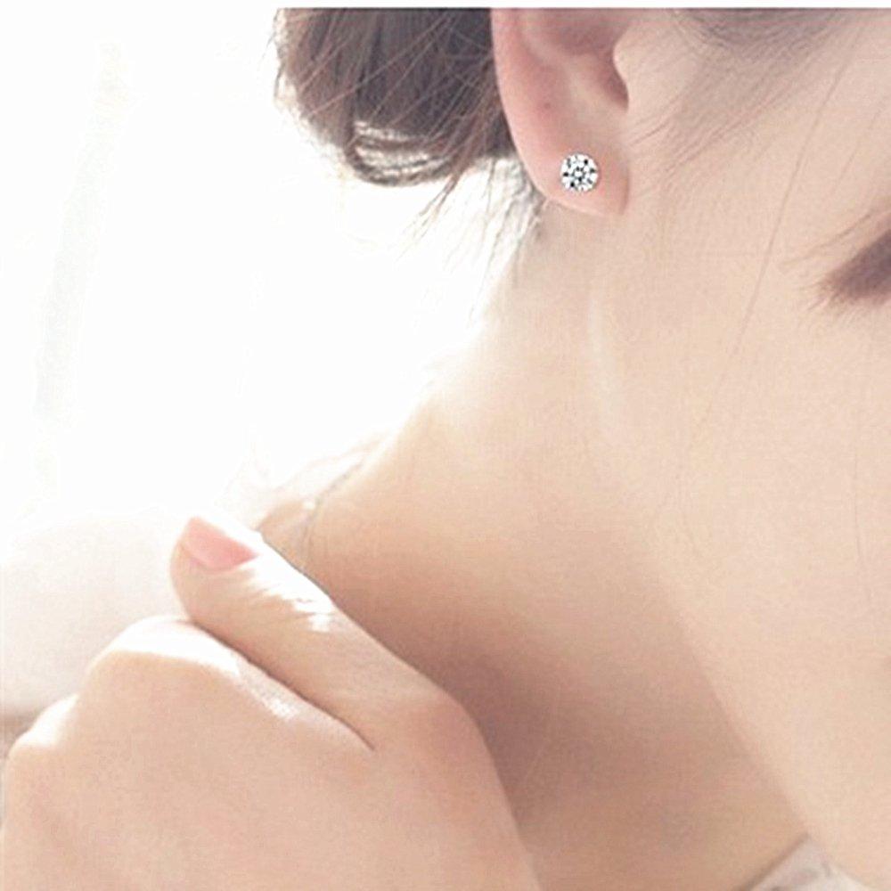 LDUDU/® Pendiente Plata de ley 925 Semental Unisex de Cristal Swaroski// Circonita dise/ño sencillo para hombre mujer regalo de Cumplea/ños Navidad San Valentin color blanco