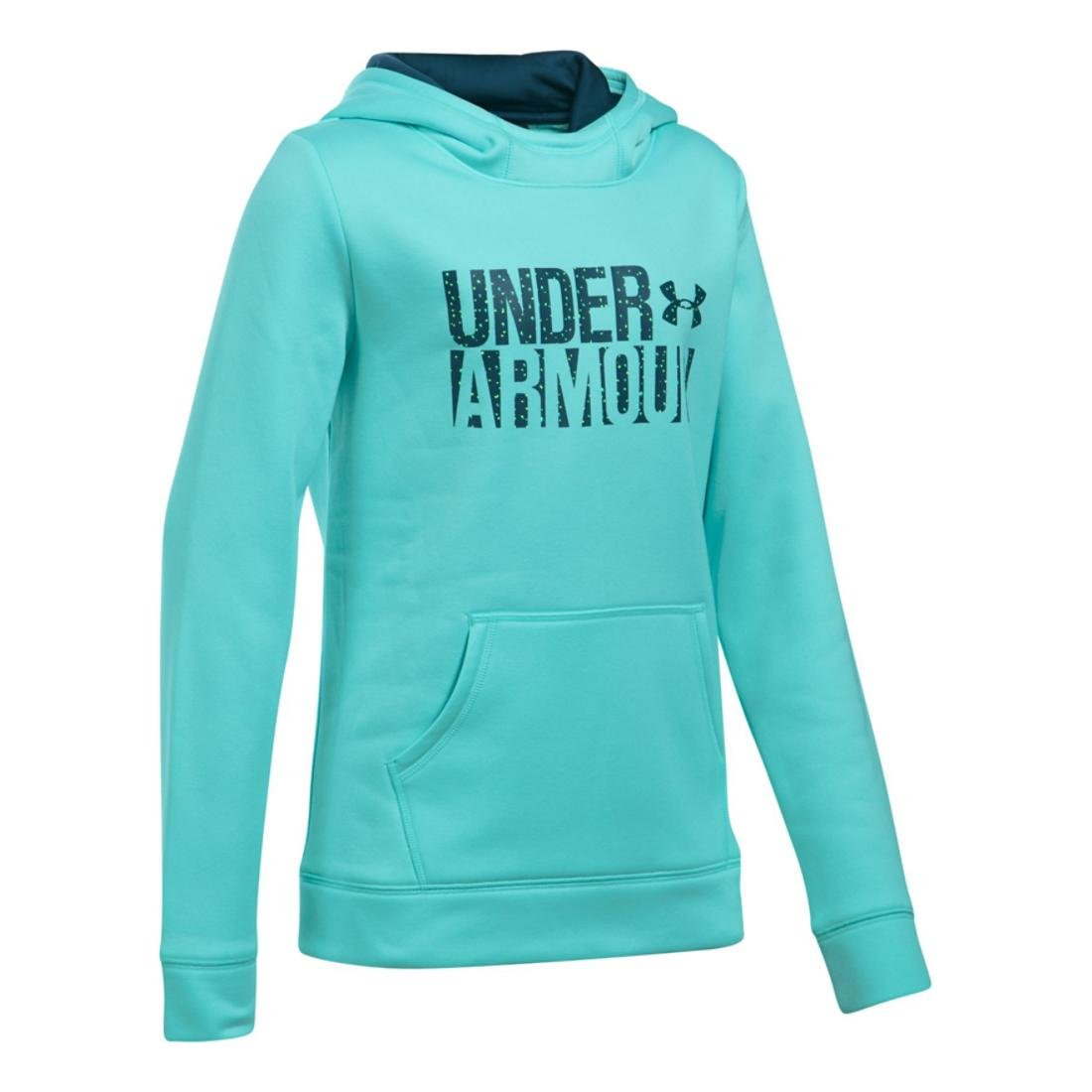 Under Armour Girls Armour Fleece Wordmark Hoodie, Blue Infinity/Blue, X-Small / 7 Big Kids by Under Armour (Image #1)