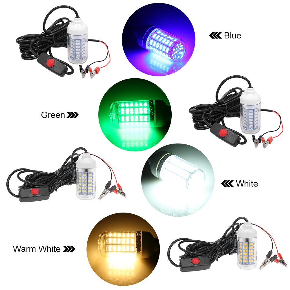 Lixada 12V 15W Underwater Fishing Attract Light LED Lamp Fish Finding System Light with 30ft Power Cord and Battery Clip by Lixada (Image #4)