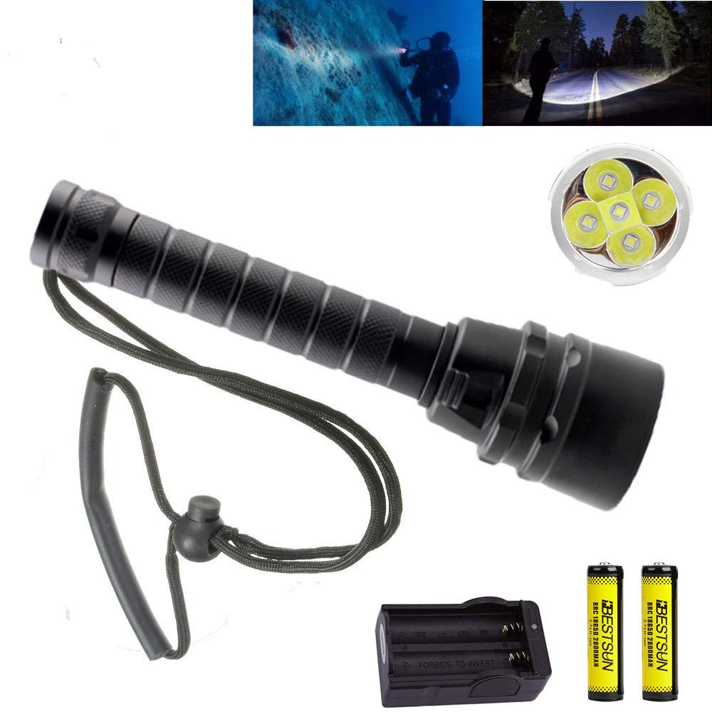 BESTSUN Brightest Diving Flashlight, 5X CREE XM-L2 10000 Lumens Underwater Flashlight Super Bright 100M Scuba Safety Dive Light Torch for Divers Under Water Sports by BESTSUN