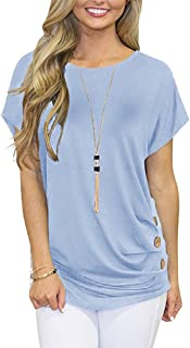 Amlaiworld Women Casual Tee Shirt Summer Basic Tunic Shirt Short Sleeved Solid O-Neck Buckle T-Shirt Tops