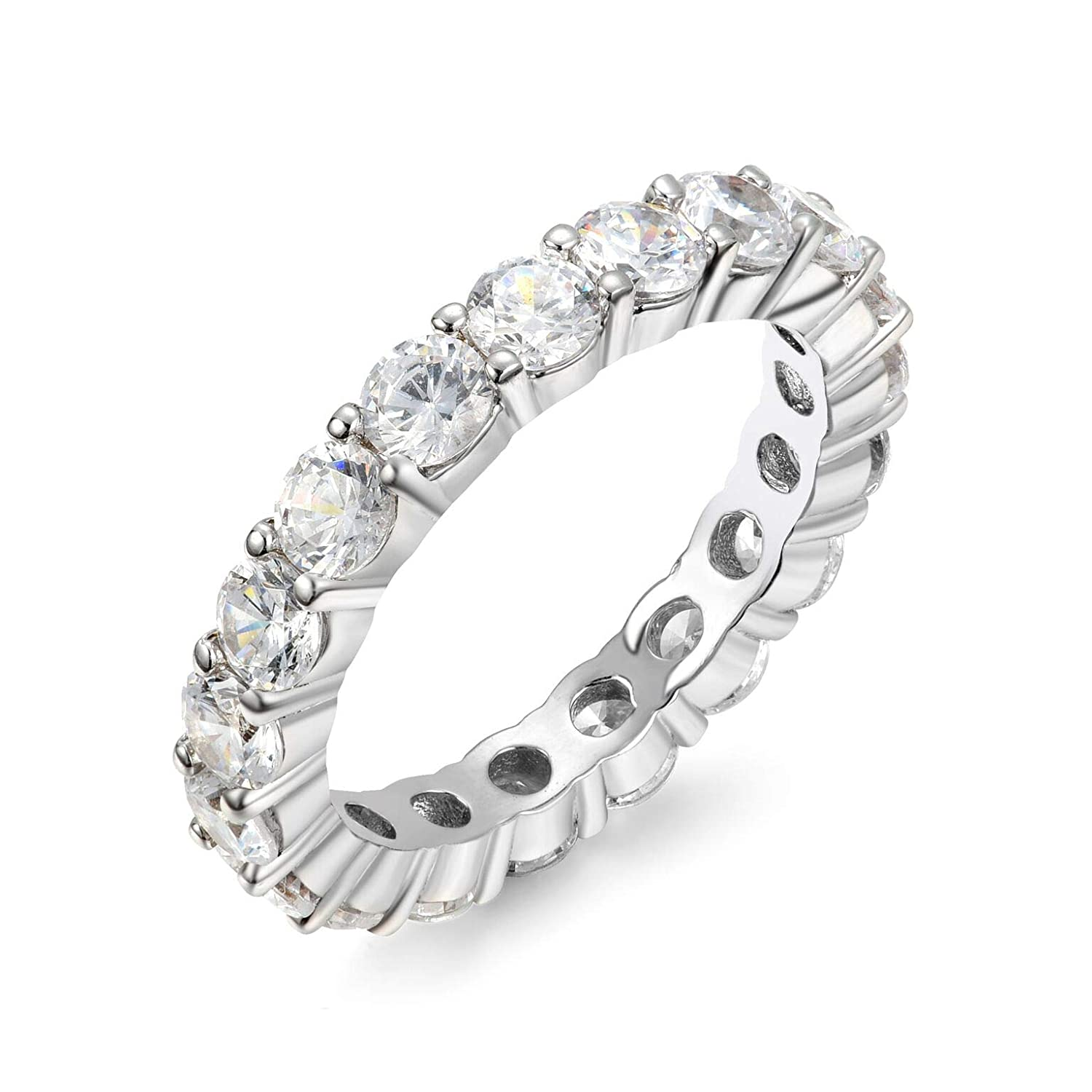 Gemstone Fine Jewelry 2019 Fashion Aaa White Cubic Zirconia Round Sterling 925 Silver Eternity Ring Size 7