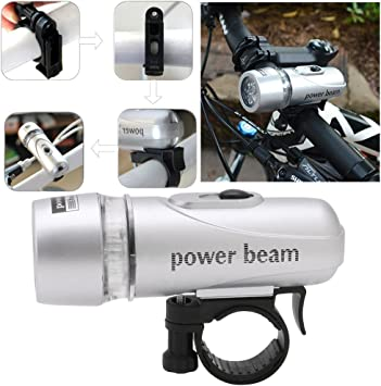 Bicycle Light Set With Power Beam and Safety Back Light With Brackets