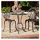 Cheap French Ironwork Cast Aluminum Outdoor Patio 3 Piece Bistro Set in Antique Copper Finish – 2 Chairs and 1 Table