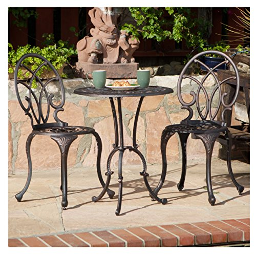 French Ironwork Cast Aluminum Outdoor Patio 3 Piece Bistro Set in Antique Copper Finish - 2 Chairs and 1 Table by CK Products