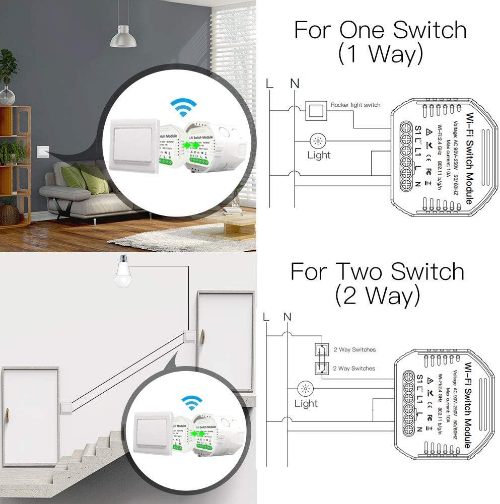 Compatible avec Alexa Echo Google Home DIY Smart WiFi Lumi/ère LED Gradateur Smart Life//Tuya APP T/él/écommande 1//2 voie