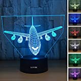 LLUUKK Visual 3D Night light Desk Lamp Airliner Plane Airplane Plain toys Table decoration household accessories Kids gift boys festival