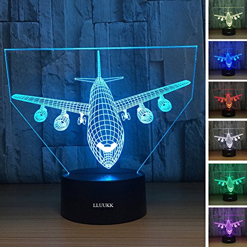 Airliner Plane (LLUUKK Visual 3D Night light Desk Lamp Airliner Plane Airplane Plain toys Table decoration household accessories Kids gift boys festival)