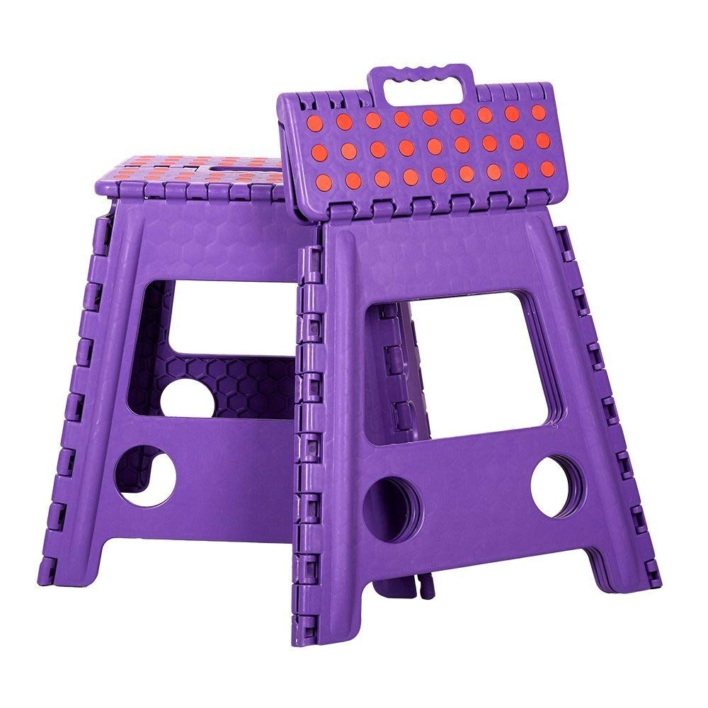 COLORTREE Easy Foldable Step Stool Chair-Purple