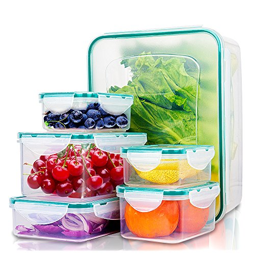 (Food Containers with Lids - Snaplock Plastic Containers BPA Free - 100% Leak-Proof Seal Tight Container - Small & Large Pantry Storage Container Sets by Empino - 12 Piece Set)