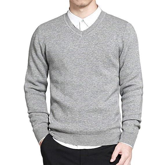 boutique de sortie mignon pas cher rechercher le meilleur Yasminey Pull Homme Pull Style Coton V Col Tricoté Simple ...