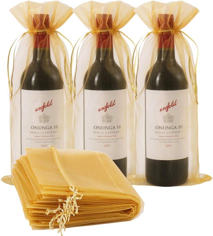 30 bolsas de vino de organza, 14 1/3 x 6 1/3 pulgadas bolsa de regalo para botella de vino con cordón para boda, fiesta de cumpleaños, festival, regalo de decoración (oro, 750 ml)