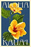 Kaua'i, Hawaii - Yellow Hibiscus (24x36 SIGNED Print Master Giclee Print w/ Certificate of Authenticity - Wall Decor Travel Poster)