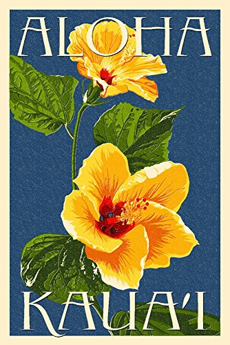 Kaua'i, Hawaii - Yellow Hibiscus (24x36 SIGNED Print Master Giclee Print w/ Certificate of Authenticity - Wall Decor Travel Poster) by Lantern Press