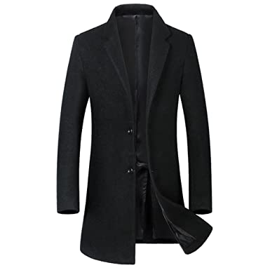 Giosnasm Mens New Mens Hair Coat Trench Coat Single-Breasted Pea Coat Trench Coat Black