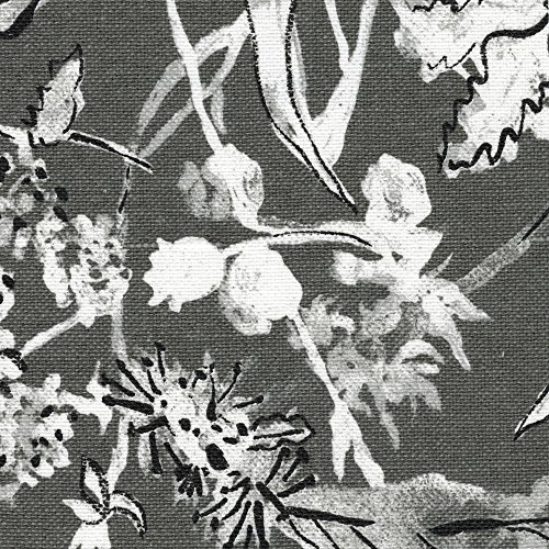 Garden Party Ink Floral Gray Tailored Valance Lined Cotton - Valance Tailored Garden