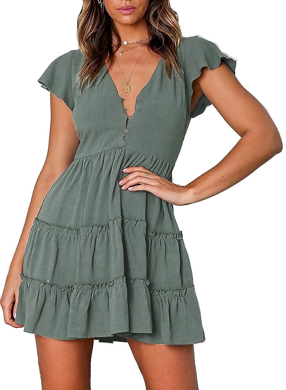 9561759ce1f3f ZESICA Women's Summer Bohemian Floral Printed Short Sleeve V Neck Button  Ruffle Swing Beach Mini Dress at Amazon Women's Clothing store: