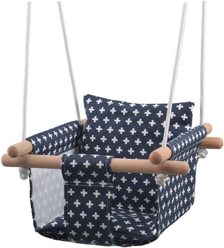 Asiento de Columpio Silla Colgante de Lona para bebés y niños pequeños, Columpio Seguro Hamaca de Interior y Exterior Toy A ++ (Color: Plus Black)
