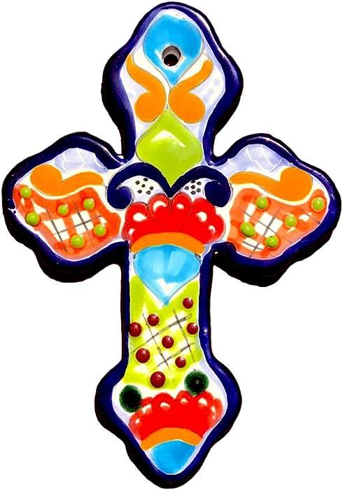 "Mexican Talavera Wall Cross 8"" X 5.5"" Hand Painted Ceramic Tile - Handmade in Mexico - Cruz Multicolor"