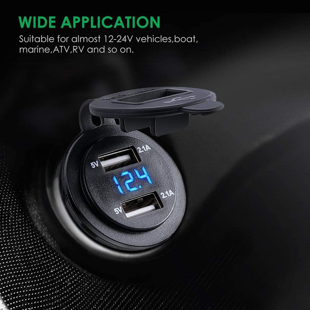 Blue Grebest USB Car Charger Motorcycle Riding Gear Voltmeter Car Motorcycle Waterproof 4.2A Dual USB Charger Socket with Voltmeter Wire