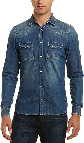 Mens THE KOOPLES Classic Button Down Shirt Long Sleeve Blue Dots Size L