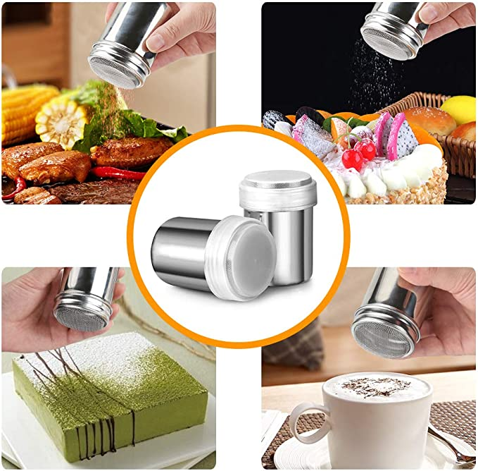 1pcs Stainless Steel Chocolate Shaker Cocoa Flour Coffee Sifter+16Pcs Coffee Tem