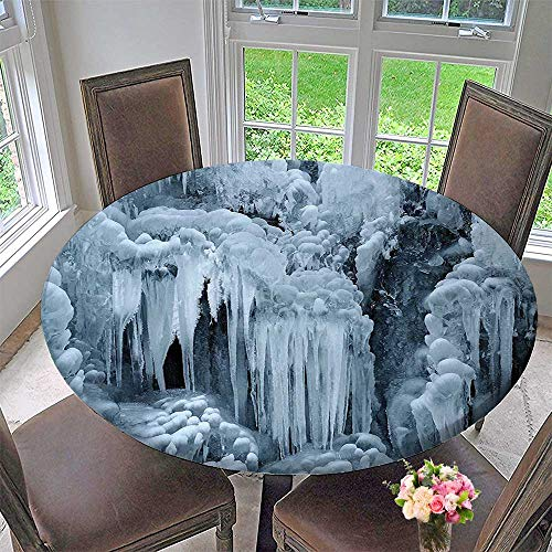 Round Polyester Tablecloth Table Cover Waterfall Ice Sharp Icicles on Frozen in Winter with Snow Layers on The Rocks White for Most Home Decor 31.5