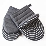 Cotton Quilted Mini Oven Mitts Kitchen set with Silicone Printing Non-slip Grip Heat Resistant, Puppet Mini Oven Gloves set of 2 for BBQ Cooking Baking, Grilling, Machine Washable Women and Men Grey