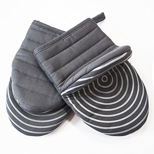 Cotton Quilted Mini Oven Mitts Kitchen set with Silicone Printing Non-slip Grip Heat Resistant, Puppet Mini Oven Gloves set of 2 for BBQ Cooking Baking, Grilling, Machine Washable Women and Men Grey by EnjoyLife Inc