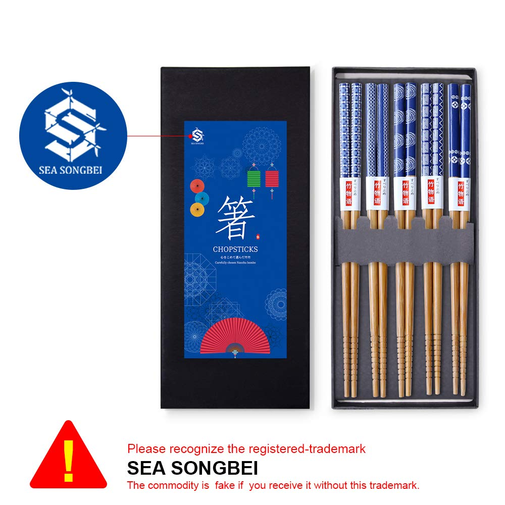 Chopsticks 5 Pairs Japanese Style Bamboo Chop Sticks Natural Reusable Classic Style Chopstick Gift Set with Box(Porcelain)