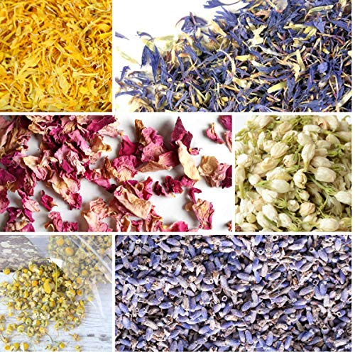 bMAKER Flower Kit (6 Pack, Cornflower) 1.5-Cup Bags of Jasmine Buds, Cornflower Petals, Pink Rose Petals, Ultra Blue Lavender, Marigold, and Chamomile