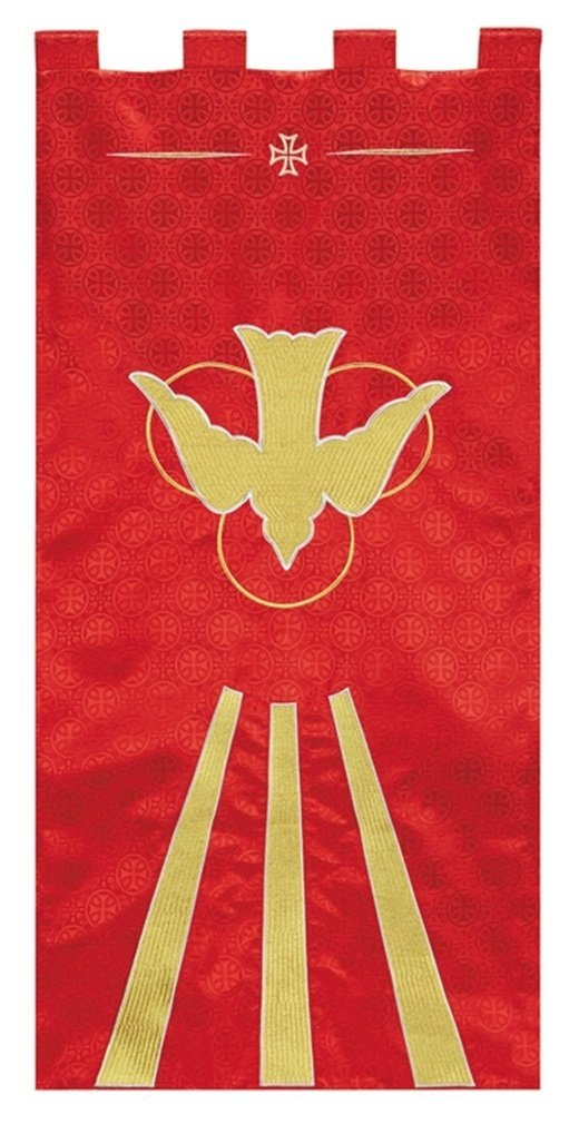 R.J. Toomey Red Polyester Holy Spirit Dove Embroidered Banner, 4 Foot by R.J. Toomey