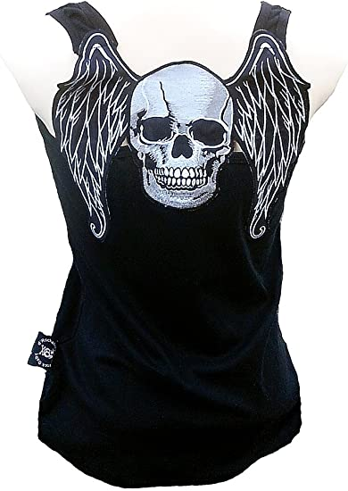 BLACK SPAGHETTI STRAPPED TOP WITH BLACK SKULLS gothic punk rock fashion tattoo