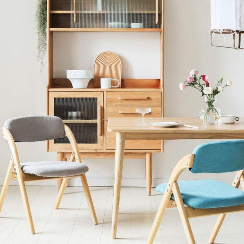 JIEER-C Fritidsstolar hopfällbar matstol massivt trä ryggstöd bordsstol vardag kontor mottagningsstol vardagsrum 52,5 x 59,5 x 78,5 cm hållbar stark BLÅ