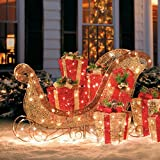 "Christmas Decoration Glittering Champagne Sleigh 42"" W"