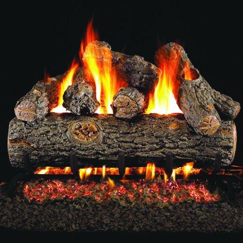 Peterson Real Fyre 36-inch Golden Oak Designer Plus Outdoor Log Set With Vented Natural Gas Stainless G45 Burner - Match Light