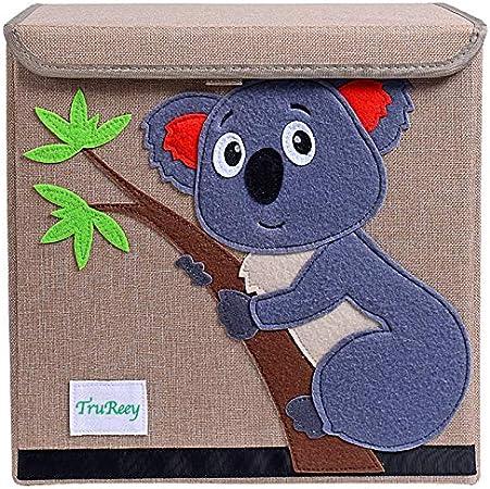 TruReey Caja de Almacenamiento Plegable con Tapa Juguete Plegable Lona Caja Organizador Caja de Almacenamiento de Juguetes Plegable 33 x 33 x 33 cm (Koala): Amazon.es: Hogar