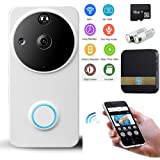 Wifi Video Doorbell Suit, Wireles Doorbell Camera WDR Security Smart Doorbell 720P HD Real-Time Two-Way Audio Night Vision PIR Motion Detection App IOS Android (Including Battery&16G SD& Door Chime)