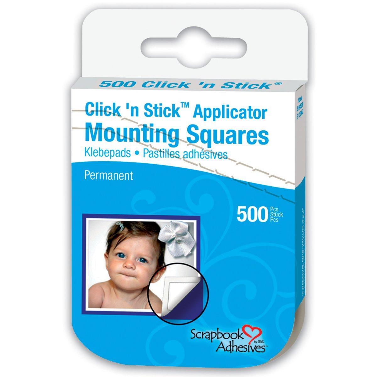 3L Click 'n Stick cuadrados de montaje permanente, Blanco, 500-Pack 01600