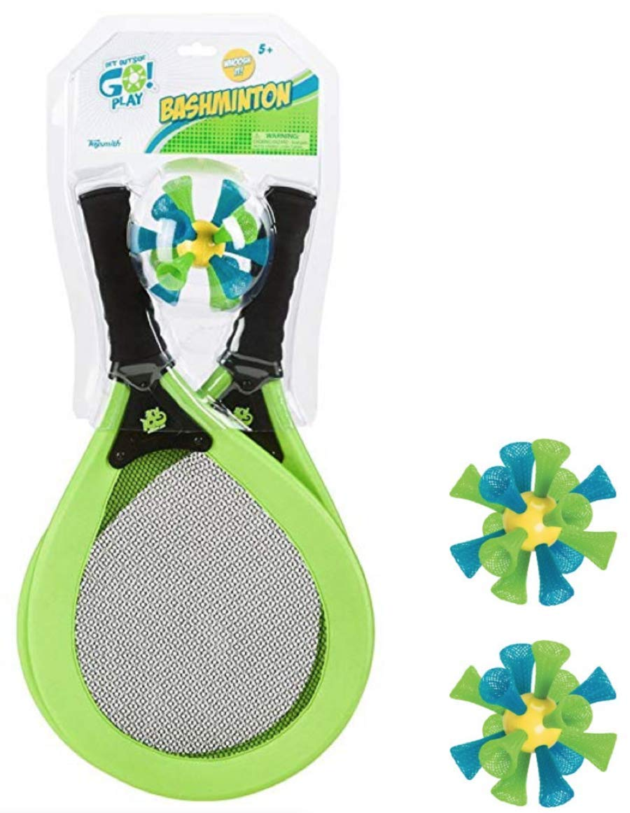 Toysmith Bashminton, Easy Badminton Springy Bashable Birdies, Set of 2 Racquets + 3 Birdies