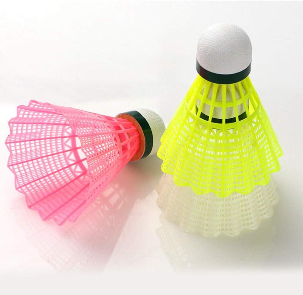 Garneck 6pcs Plastic Badminton Shuttlecocks Feather Badminton High Speed Badminton Birdies Balls Home Sports Supplies for Indoor Outdoor Exercise White