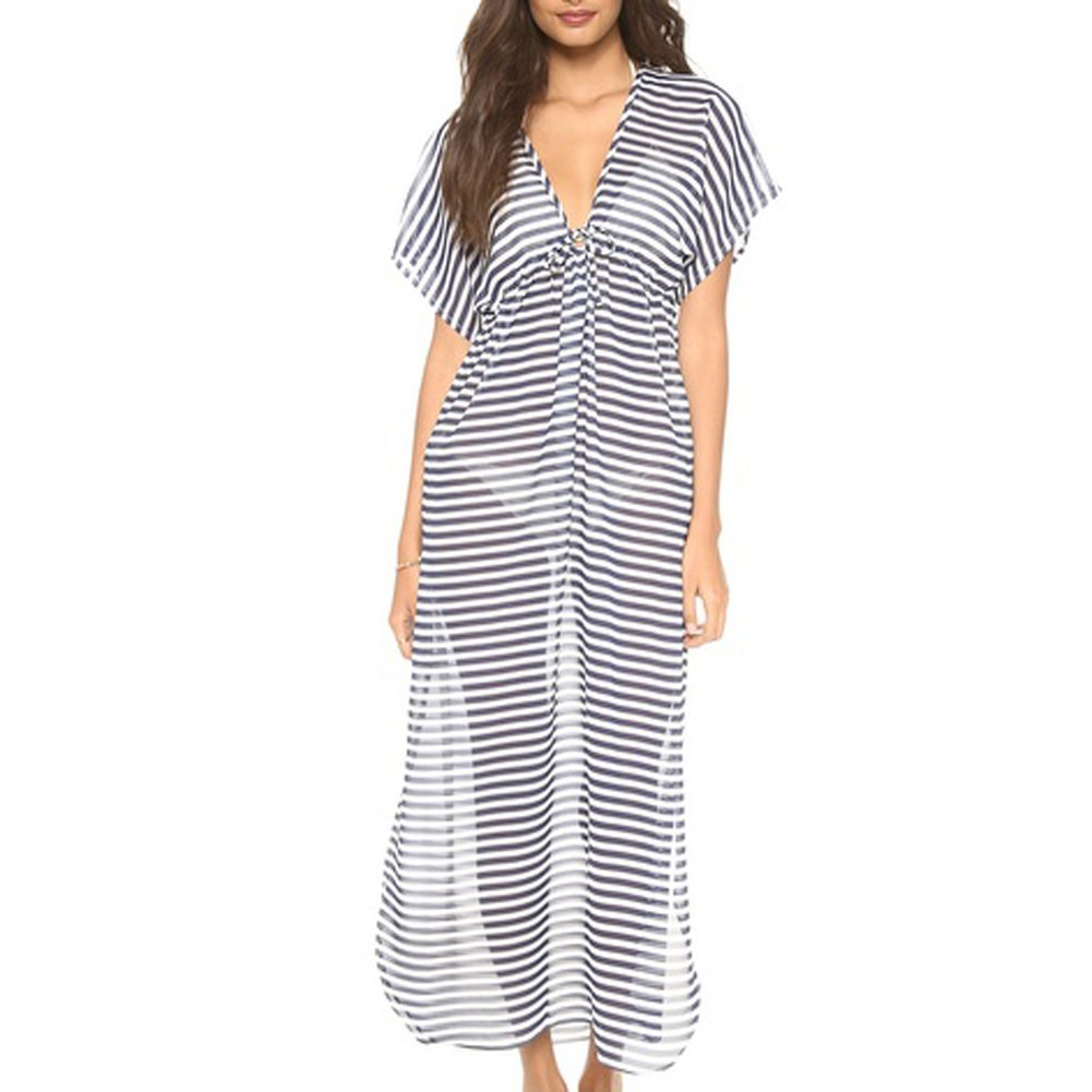 9d541e5e6b Lounge fashionably by the pool or stroll along the beach in glamorous style  with this gorgeous black and white striped long chiffon swimsuit cover-up.