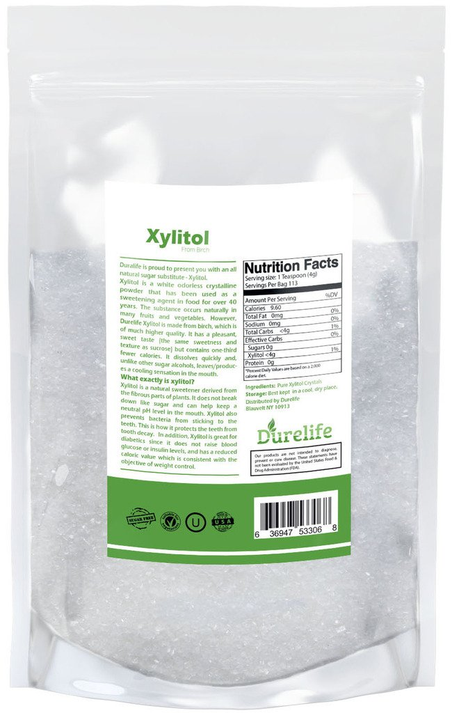 DureLife Birch XYLITOL Sugar Substitute 1 LB (16 OZ) Made From 100 % Pure Birch Xylitol In The USA , NON GMO - Gluten Free - Kosher , Packaged In A Resealable zipper lock Stand Up Pouch Bag by DureLife (Image #2)