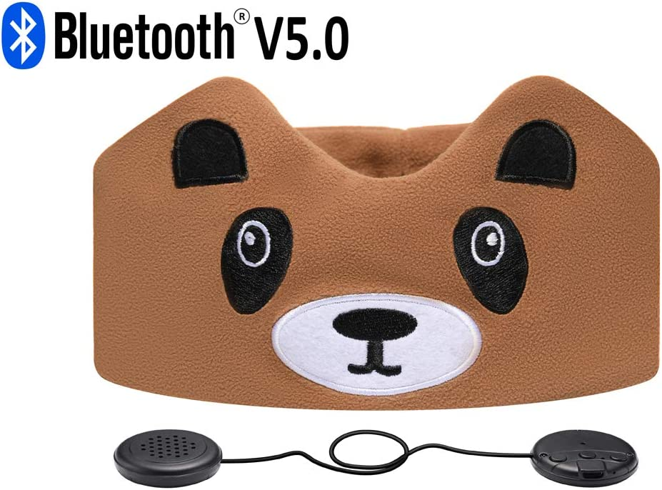 Kids Headphones, Azzker Wireless Bluetooth V5.0 Hands-Free Soft Headband with Ultra-Thin Speakers and Mic Children's Earphones for Girls & Boys, School, Calls, Home and Travel-Raccoon