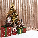TRLYC Rose Gold Shimmer Sequin Fabric Curtain Photography Backdrop (4x7.5FT)