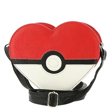 c47f026ab Amazon.com: Pokemon Pokeball Heart Faux Leather Cross Body Purse ...